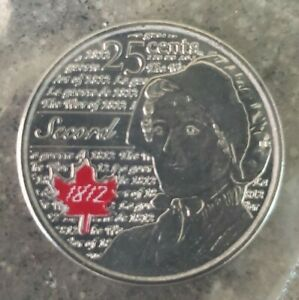 UNC CANADA 25 CENT QUARTER 2012 WAR OF 1812 LAURA SECORD COLOURIZED