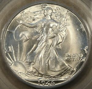 1946 D WALKING LIBERTY HALF DOLLAR 50C PCGS CERTIFIED MS65 SUPERB LUSTER IN AN O