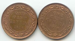 CANADA 1916 AND 1919 1 CENT COIN CANADIAN LARGE PENNY 1C   2 COINS