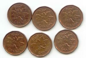 CANADA 1992 1993 1994 1995 1996 1997 ONE CENT CANADIAN PENNIES PENNY 1C SET