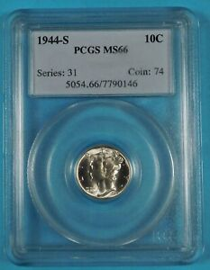 1944 S PCGS MS66 SILVER MERCURY DIME   OLD STYLE SLAB