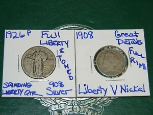 1926 P STANDING LIBERTY 90  SILVER QUARTER&1908 LIBERTY V NICKEL  2 GREAT COINS