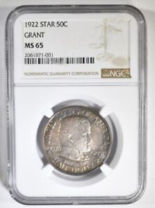 Click now to see the BUY IT NOW Price! 1922 NGC MS65 GRANT STAR COMMEMORATIVE SILVER HALF DOLLAR BEAUTIFULLY TONED