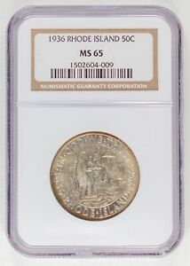 1936 NGC MS65  RHODE ISLAND COMMEMORATIVE HALF DOLLAR