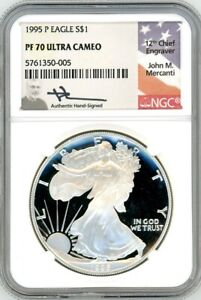 Click now to see the BUY IT NOW Price! 1995 P $1 1OZ PROOF SILVER EAGLE PR70 NGC JOHN MERCANTI