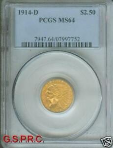 Click now to see the BUY IT NOW Price! 1914 D $2.5 INDIAN GOLD COIN PCGS MS64 MS 64 NEAR GEM   NEXT GRADE: $ 16 000