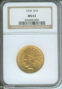 1910   1910 P   $10 INDIAN EAGLE NGC MS63 MS 63 BETTER DATE