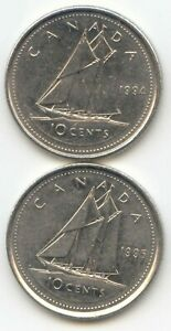 CANADA 1994 AND 1995 CANADIAN DIMES TEN CENTS 10C  EXACT  COIN SHOWN