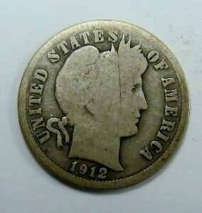1912 S BETTER DATE BARBER DIME  WITH   IN USA