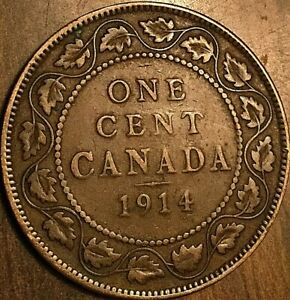 1914 CANADA LARGE CENT PENNY COIN LARGE 1 CENT