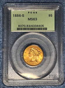 1886 S $5 LIBERTY HEAD GOLD COIN CERTIFIED PCGS MS63  OGH