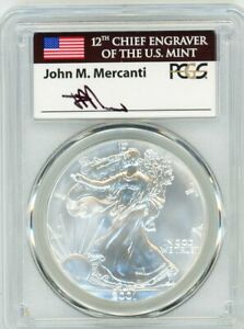 Click now to see the BUY IT NOW Price! 2001 $1 1OZ SILVER EAGLE MS70 PCGS JOHN MERCANTI FLAG