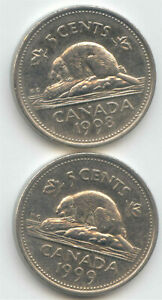 CANADA 1998   1999 CANADIAN NICKEL 5C FIVE CENT PIECES NICKELS 5 C  COIN LOT N