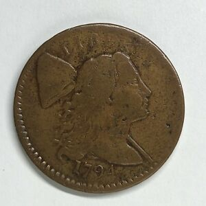 1794 LIBERTY CAP LARGE CENT S 65 WHEELSPOKE TERMINAL DIE STATE WELL PEDIGREED
