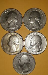1965 1966 1967 WASHINGTON QUARTERS LOT OF 5