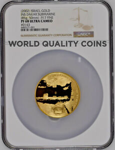 Click now to see the BUY IT NOW Price! ISRAEL 2002 GOLD MEDAL DAKAR SUBMARINE DOLPHIN FLOTILLA NGC PF68 MINTAGE 150 COA