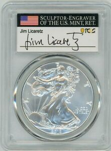 2019 $1 1 OZ SILVER EAGLE MS70 PCGS FIRST DAY OF ISSUE JIM LICARETZ