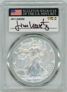 2019 W $1 1 OZ BURNISHED SILVER EAGLE SP70 PCGS FIRST DAY OF ISSUE JIM LICARETZ
