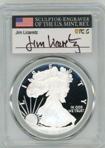 2019 W $1 1 OZ PROOF SILVER EAGLE PR70 PCGS FIRST DAY OF ISSUE JIM LICARETZ