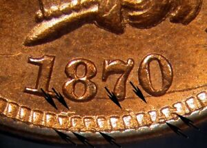 Click now to see the BUY IT NOW Price! 1870 1C MULTIPLE DIGITS IN DENTICLES. SNOW 8 INDIAN CENT PCGS MS64RB  CAC/PHO