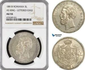 Click now to see the BUY IT NOW Price! AF404 ROMANIA CAROL I 5 LEI 1881 B SILVER AS KING 6 STARS VAR. NGC AU55 R