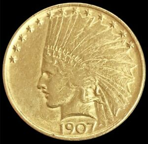 1907 GOLD NO MOTTO USA $10 INDIAN HEAD EAGLE COIN PHILADELPHIA MINT