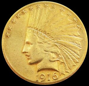 1916 S GOLD UNITED STATES $10 DOLLAR INDIAN HEAD EAGLE COIN SAN FRANCISCO