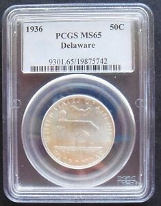 1936  DELAWARE 50 C  NGC  MS 65 NICE SILVER COIN  2 5 ..