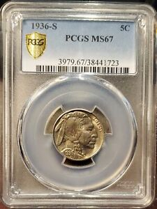 Click now to see the BUY IT NOW Price! 1936 S 5C BUFFALO NICKEL PCGS MS67 NICE TONING BRILLIANT LUSTER  COIN RAR