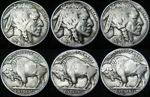 THREE COINS 1928 P 1928 D 1928 S BUFFALO NICKELS COMBINED S&H AVAILABLE GL19SX
