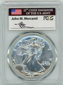 Click now to see the BUY IT NOW Price! 1987 $1 1 OZ SILVER EAGLE PCGS MS70 JOHN MERCANTI FLAG LABEL SIGNED