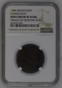 1788 POST COLONIAL ISSUES CONNECTICUT   COPPER NGC XF45 MINT ERROR BN