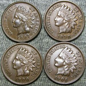 1897 1898 1900 1906 INDIAN CENT PENNY     STUNNING LOT     D426
