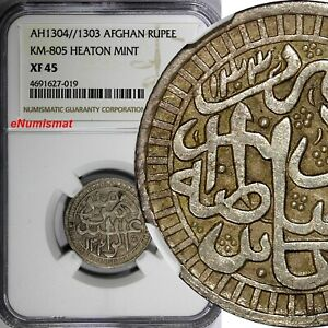 Click now to see the BUY IT NOW Price! AFGHANISTAN ABDUR RAHMAN SILVER AH1304//1303 RUPEE HEATON NGC XF45 KM 805  019