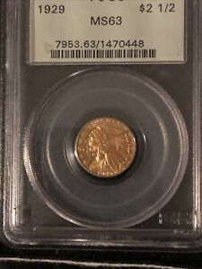 1929 $2.5 INDIAN QUARTER EAGLE GOLD COIN PCGS MS 63 BEAUTIFUL