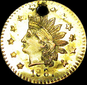 1881 CALIFORNIA GOLD 1/2 50C FRACTIONAL GOLD ROUND INDIAN HEAD  C659