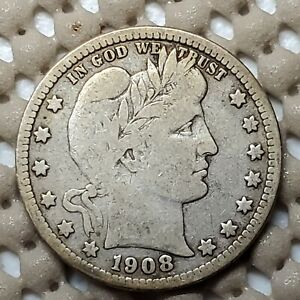 1908 D BARBER QUARTER 25 SILVER COIN