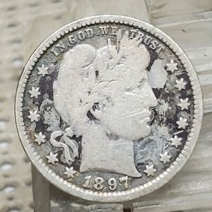1897 P BARBER QUARTER 25 SILVER COIN EARLY US TYPE