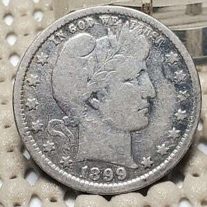 1899 O BARBER QUARTER 25 SILVER COIN EARLY US TYPE