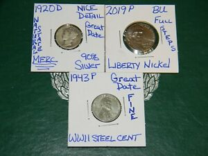 1920 D MERCURY 90  SILVER DIME 2019 S LIBERTY [BU] 5C & 1943 P WWII STEEL CENT