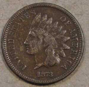 1873 INDIAN HEAD CENT VG F