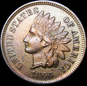 1866 INDIAN CENT PENNY      NICE DETAILS       D608