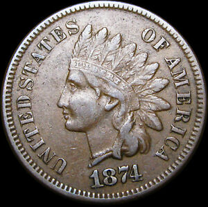 1874 INDIAN CENT PENNY      NICE DETAILS        D613