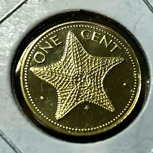 1975 BAHAMAS 1 CENT STARFISH PROOF BRILLIANT UNCIRCULATED