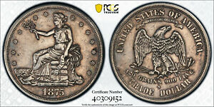 1875 S/CC TRADE DOLLAR $1 FS 501 PCGS VF DETAILS LOOKS XF