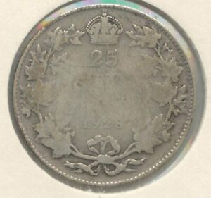 CANADA 1928 SILVER 25 CENT PIECE CANADIAN QUARTER DOLLAR 25C EXACT COIN SHOWN