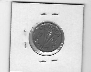 1945 CANADA 5 CENTS STEEL NO CHROME