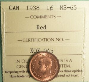 1939   CANADA PENNY   GRADED   ICCS MS 66    RED   SERIAL XPT 579
