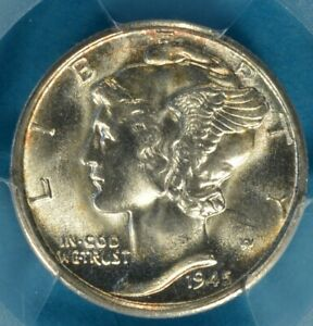 1945 S MERCURY DIME PCGS MS67  STRONG LUSTER GOLD HIGHLIGHTS PQ