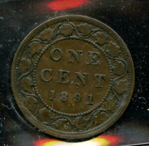 1891 CANADA LARGE CENT   ICCS VF 30   LARGE LEAVES SMALL DATE; OBVERSE 3